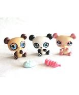 Littlest Pet Shop LPS Panda Bear 90 574 1328 White Brown Pink Lot of 3 B... - $9.99