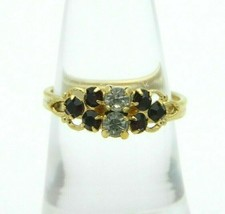 SARAH COVentry Gold Tone Red Clear Rhinestone Ring Size 6 Vintage - $19.80