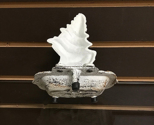 Cast Iron Antiqued White Spiral Shell Soap Dish Natical Decor