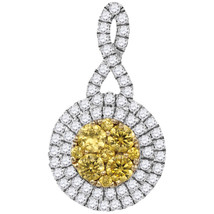 14k White Gold Round Yellow Diamond Concentric Circle Frame Cluster Pendant - $1,259.00
