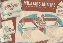 Superior Mr. & Mrs 12 Motifs Hot Iron Transfers #176 for Embroidery Vtg ... - $9.89