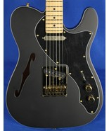 Fender Deluxe Thinline Telecaster Tele Satin Black and Gold Electric Guitar - $999.99