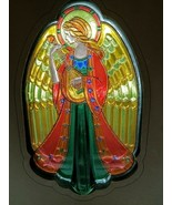 Vintage Christmas Hallmark Tree Topper Acrylic Stained Glass Style Angel... - $11.87