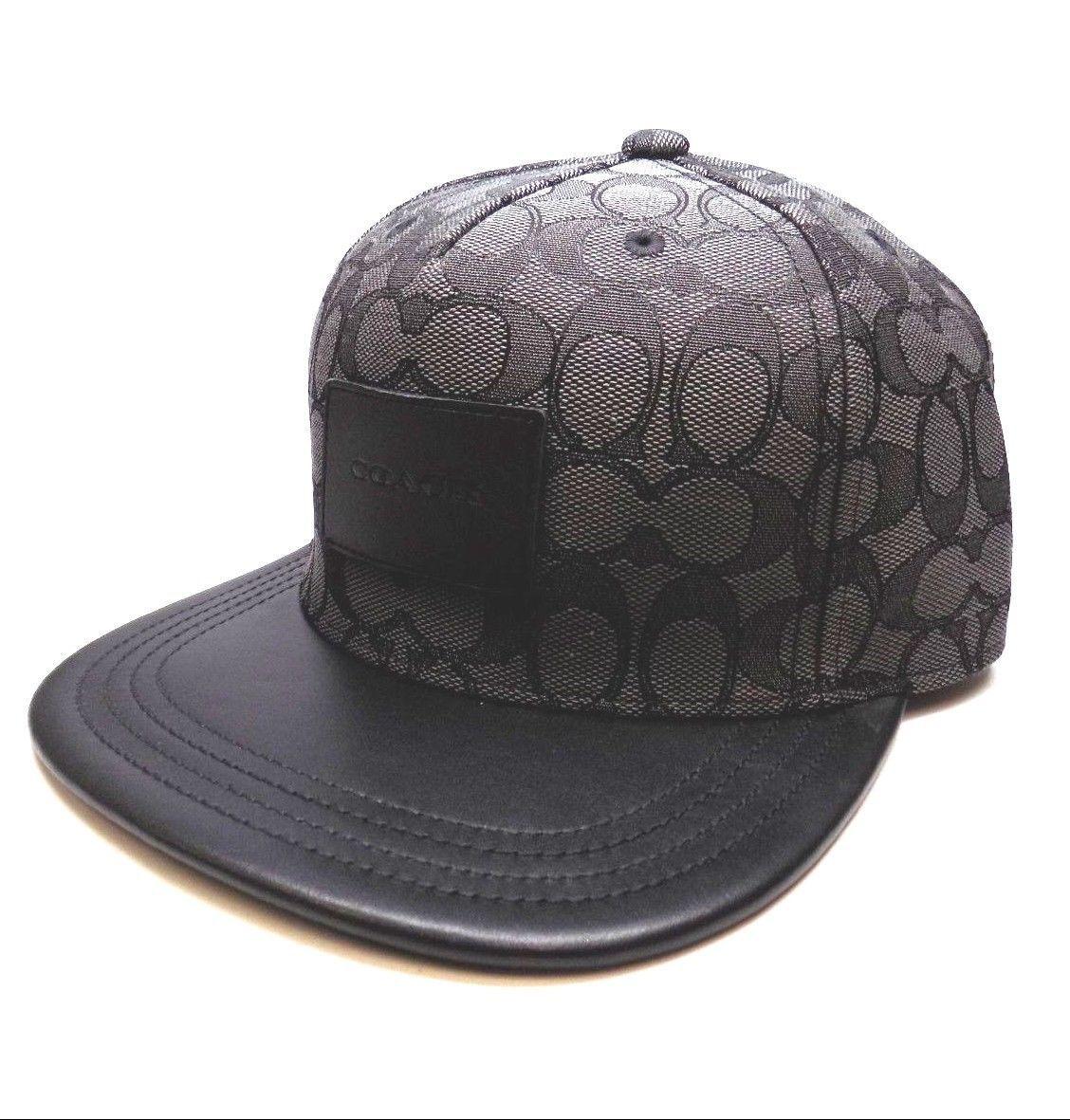 S l1600. S l1600. Previous. BRAND NEW MEN S COACH (F33776) FLAT BRIM  SIGNATURE BLACK ADJUSTABLE HAT CAP 43e12b416c14
