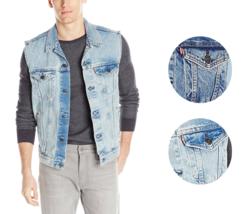 New Levi's Strauss Men's Premium Cotton Button Up Denim Jeans Trucker Vest