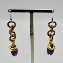 Drop Earrings Aluminum Laminated Yellow Gold with Amethyst Purple Oval image 3