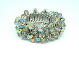 Gray Aurora Borealis Glass Crystal Bead Cha Cha Stretch Bracelet - $39.59