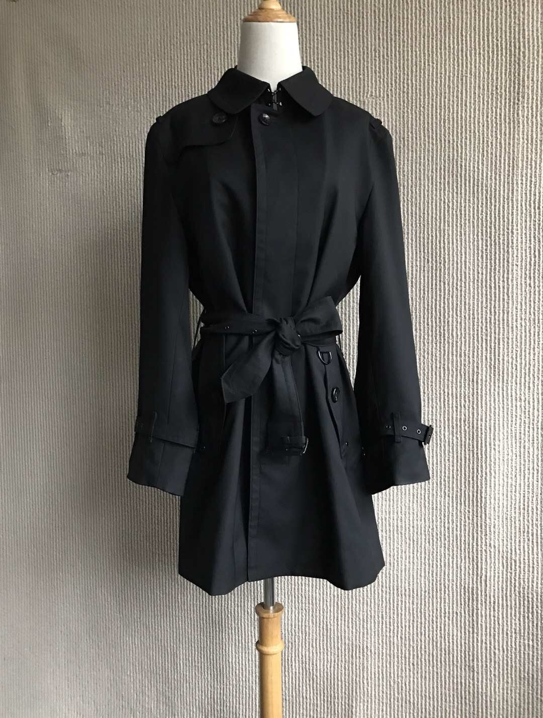 100% AUTHENTIC BURBERRY LONDON CLASSIC BLACK WOOL TRENCH COAT JAPAN