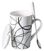 Creative Simple High-capacity Ceramic Cup, Messy Lines And Ceramic Cover - $21.83