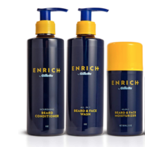 Enrich By Gillette All In One Beard Care Kit Face Wash,Conditioner, Mois... - $27.54