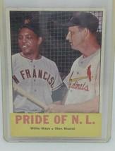 1963 Topps #138 Pride Of N.L. Willie Mays Stan Musial  - $49.45