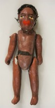 """antique COMPOSITION BLACK NATIVE AFRICAN? DOLL w EARRINGS string joint  6"""" - $87.95"""