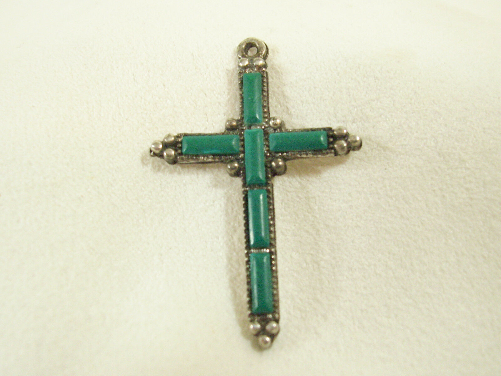 Green TURQUOISE CROSS Pendant Silver Plate Signed Religious Vintage Bead Accent