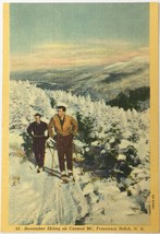 Old Linen Era Postcard Skiing on Cannon Mountain Franconia Notch New Ham... - $11.75