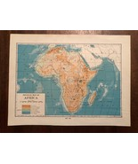"""Vintage Color Physical Map of AFRICA Continent Print Plate 7"""" x 9"""" Unframed - $14.00"""