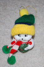 """White Snowman w/ Knit Scarf & Hat Vintage Christmas Bell Ornament 4"""" - $13.32"""