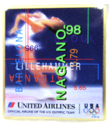 United Airlines Pin '98 NAGANO JAPAN Olympics with other cities & Figure... - $5.49