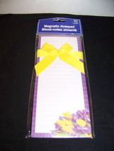 Magnetic Notepad With 60 Lined Sheets Purple With Yellow Flowers - $3.32