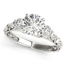 Certified 2.15Ct Round Cut Diamond Three Stone Engagement Ring in 14K Wh... - $289.92