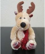 "Paris Presents 6-1/2"" Sitting Reindeer Wearing Red Scarf Plush NO TAGS - $14.84"