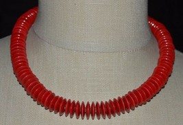 Vintage Dark Pink Red Acrylic Disc Disk Bead Choker Necklace - $29.70