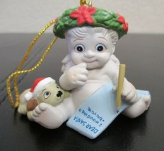 """Vintage Dreamsicles With Santa List & Puppy Ornament 2"""" In Original Box - $12.86"""