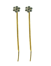 Floral Crystal Gold Plated long chain dangle women earrings sui dhaga  - $7.59