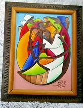 Fritz Rock Oil Painting, Authentic Haitian Art,Colorful  Egg People Pain... - $500.00