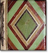 Leaf Notebook Journal Hand Crafted Bali Diamond Geometric Design Natural... - $12.20