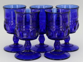 "Set of 5 Vintage Royal Blue Kings Crown Glass Cordials 3 1/2"" tall, 2"" wide"