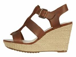Clarks Maritsa 95 Glad Tan Women's Leather Wedge Platform Sandals 49296 - $98.00