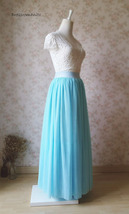 Aqua Blue Tulle Skirt and Top Set Elegant Plus Size Wedding Bridesmaids Outfit image 6