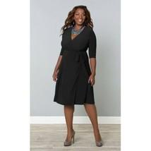 Kiyonna Women's Dress 1X Black Essential Wrap True Wrap Made USA LBD Cla... - $44.54