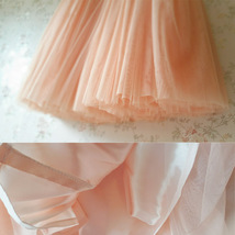 Blush Peach Bachelorette Long Tutu Tulle Skirt Pockets A Line Party Tulle Skirt image 6