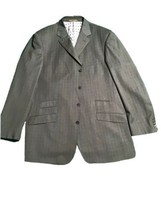 MECCA ITALY Men's 46L Grey  Pinstriped Polyesters Viscose Suit Jacket - $30.00