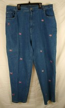 QUACKER FACTORY Women Blue Jeans with Patriotic USA Flags Embroidery - 22W - $18.66