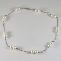 Necklace in 18kt White Gold with White Pearls Round Diameter 8 8.5 MM image 2