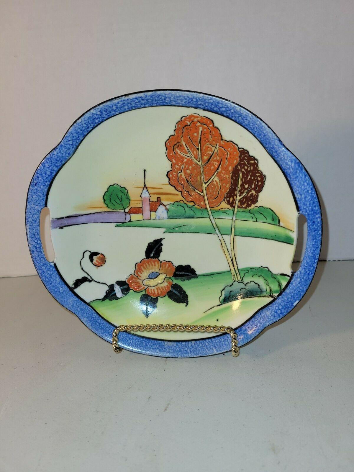 Vtg Hand Painted Ceramic Two Handle Multicolored Farm Landscape Noritake Bowl - $22.76