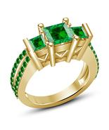 Princess Cut Green Sapphire Womens Wedding Engagement Ring Gold Over 925... - $75.99