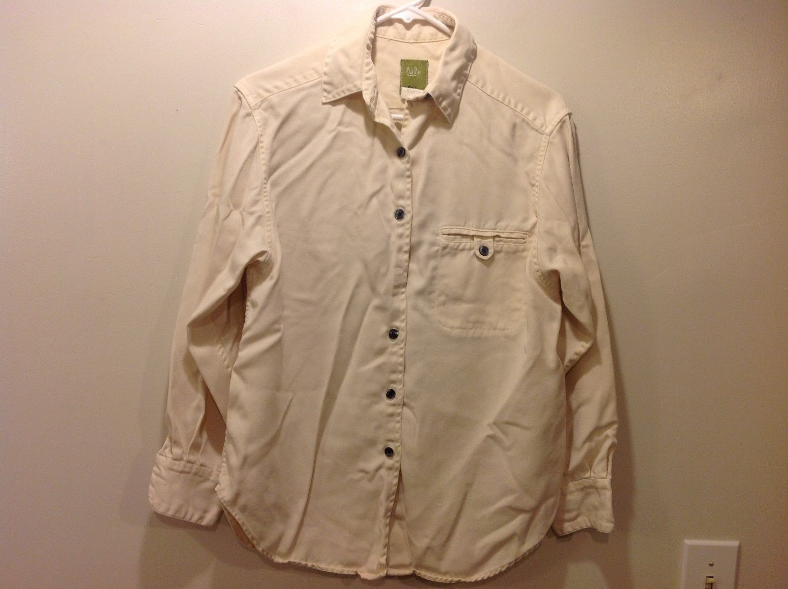 Pulp Long Sleeve Button Up Collared Sandy Colored Shirt Sz PL