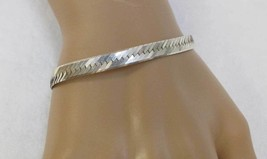 "Herringbone Bracelet Sterling Silver .925 Italy Made 7 1/2"" Long Vintage - $12.86"