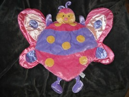 28x28 BABY GUND Butterfly BLUSH Playmat Plush Velour Satin Blanket Lovey... - $29.69