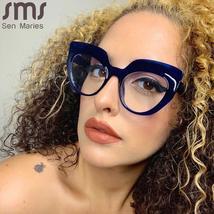 Cat Eye Anti Blue Light Optical Glasses Women Men Vintage Clear Glasses Eyeglass image 3