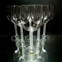 6 (Six) VINTAGE MIKASA HORIZON Frosted Stem Crystal Wine Glasses DISCONT... - $71.24