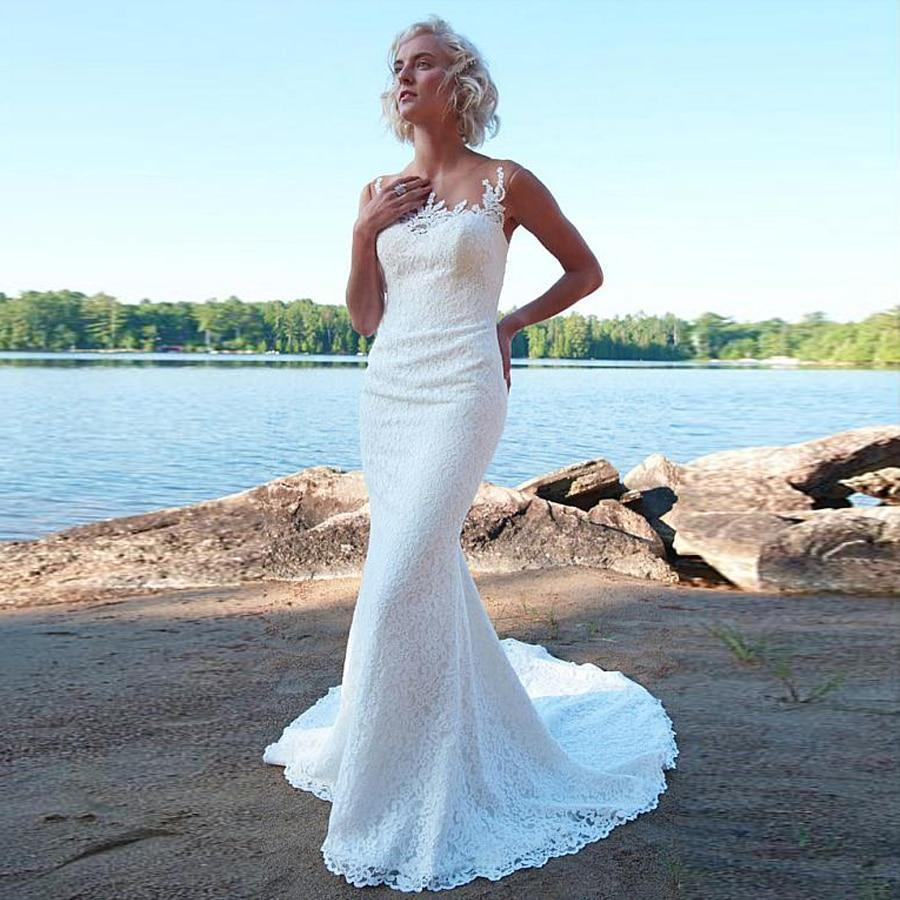 Te lace sheer jewel neckline mermaid wedding dress with crystals beach lace bridal dress robe de