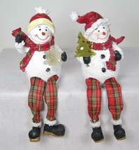 Snowman Shelf Sitters Tabletop Holiday Christmas Decor Set of 2 with LED... - $17.77