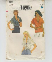 Vogue 8014 Misses Blouse Loose-fitting Sewing Pattern 16 - $10.88