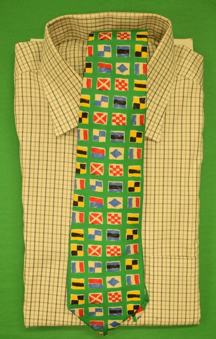"""'Abercrombie & Fitch Green """"Signal Flags"""" c1980s Tie' - $125.00"""