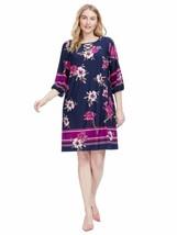 Sandra Darren Womens Dress 18W Navy Blue Criss Cross Neck Floral Shift A... - $16.37