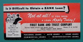 INK BLOTTER AD 1950s - First Bank & Trust Loans Perth Amboy New Jersey - $4.49
